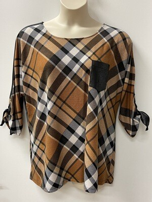 Modes Plaid w/Faux Leather Trim