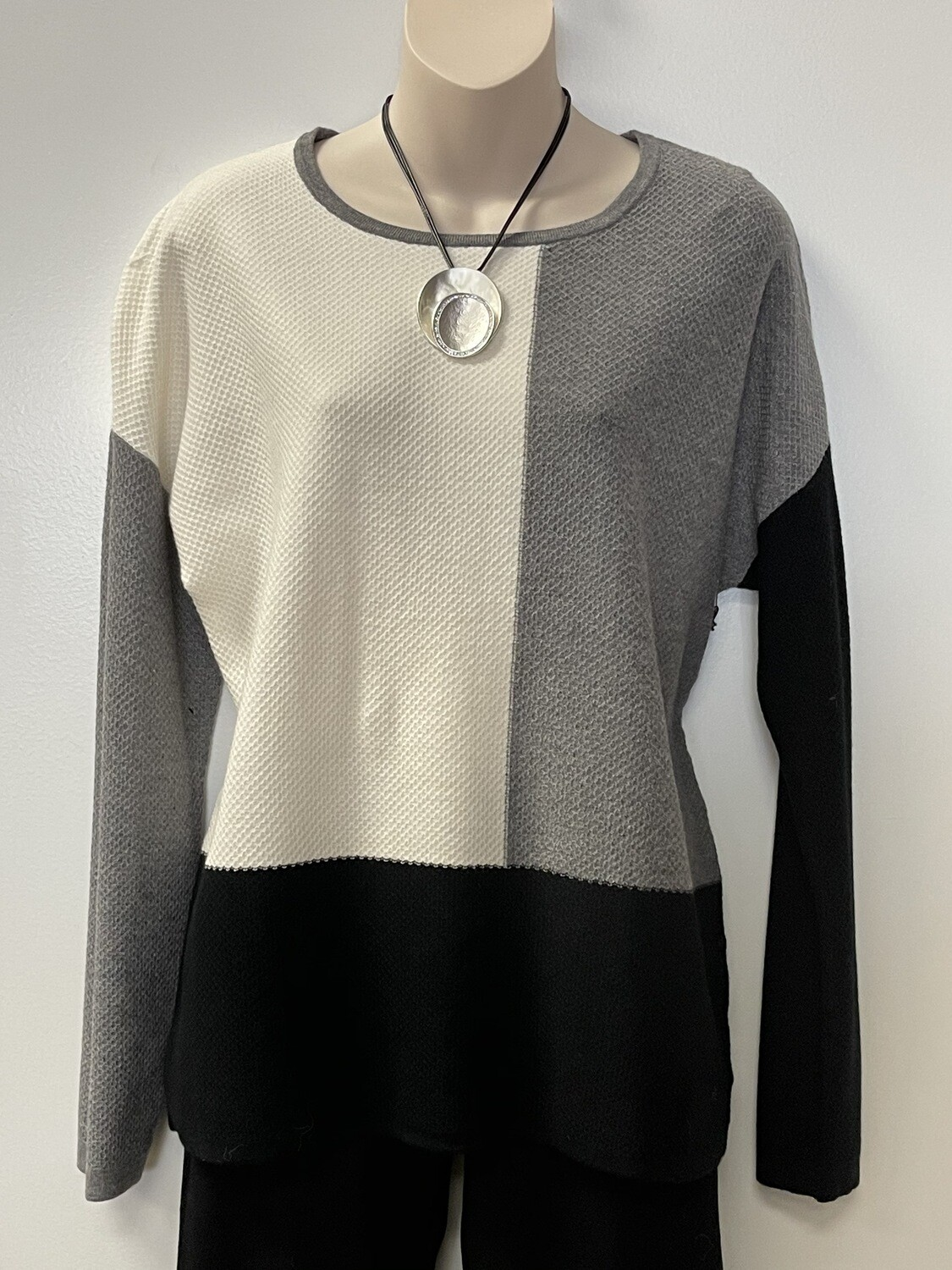 Sis Tri Color Rnd Neck Sweater