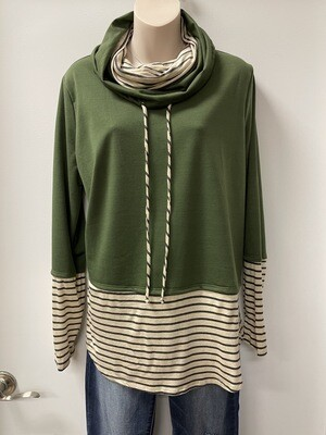 BiBi Dbl Cowl Top w/Stripe