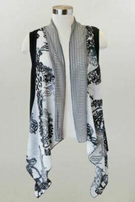 KH Blk/White Drape Vest