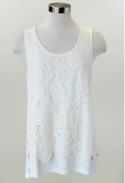 KH Plus Slvless Lace Overlay Top