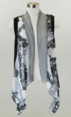 KH Blk/White Lg Drape Vest