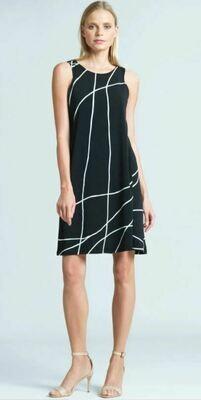 CSW Slvless Blk/Wht Swirl Dress