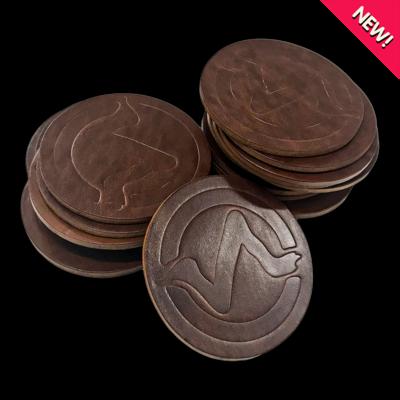 Handmade Leather Coasters, 2-pack