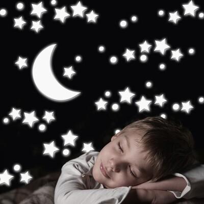 Crearreda 18003 - White Stars Glow in the Dark Foam Sticker