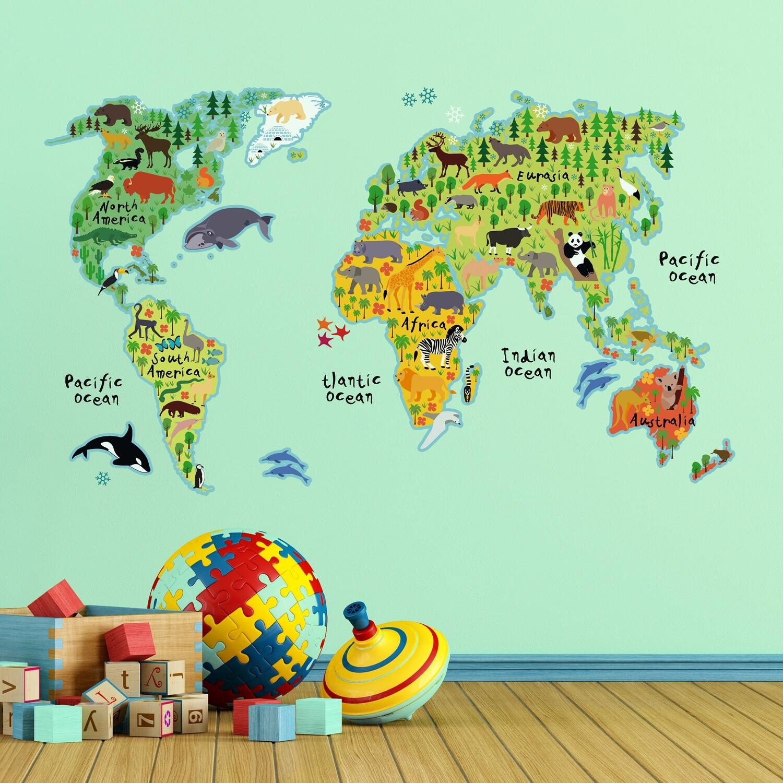 World Map Self-adhesive Wall Sticker