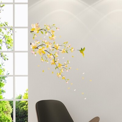 Yellow Branch Self Adhesive Wall Sticker