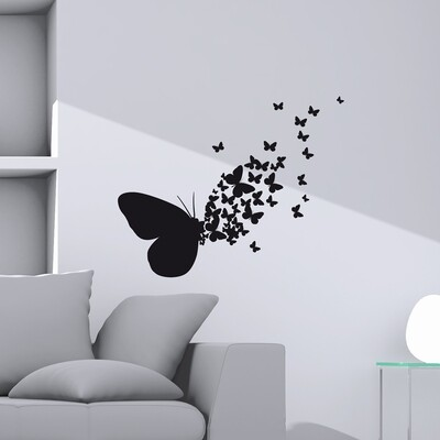 Butterflies Silhouettes Self Adhesive Wall Sticker