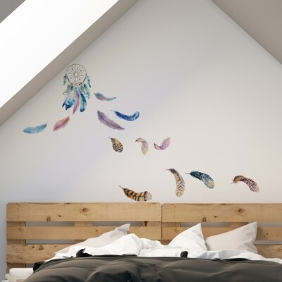 Watercolour Dreamcatcher Self Adhesive Wall Sticker