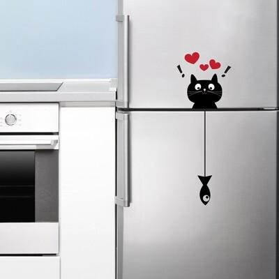 Cat & Fish Self Adhesive Wall Sticker