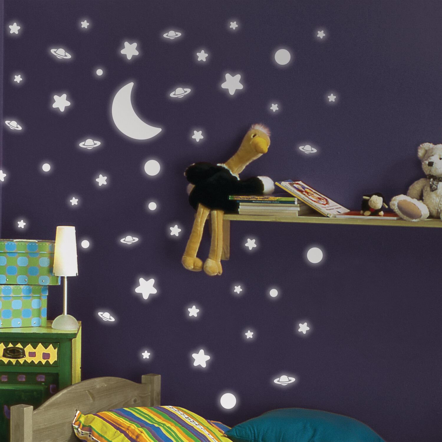 Crearreda 79223 - White Stars Self Adhesive Wall Sticker Glow
