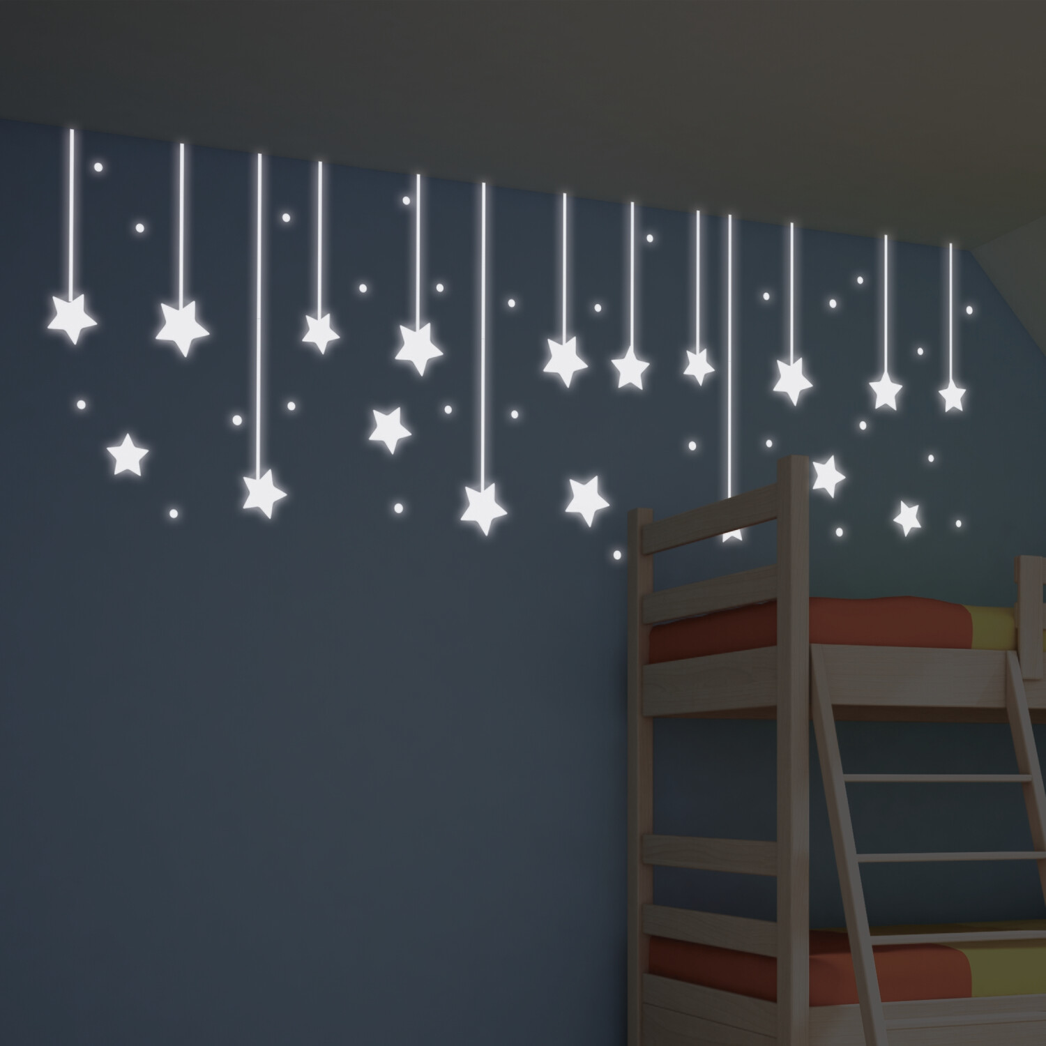 Hanging Stars Self Adhesive Wall Stickers Glow