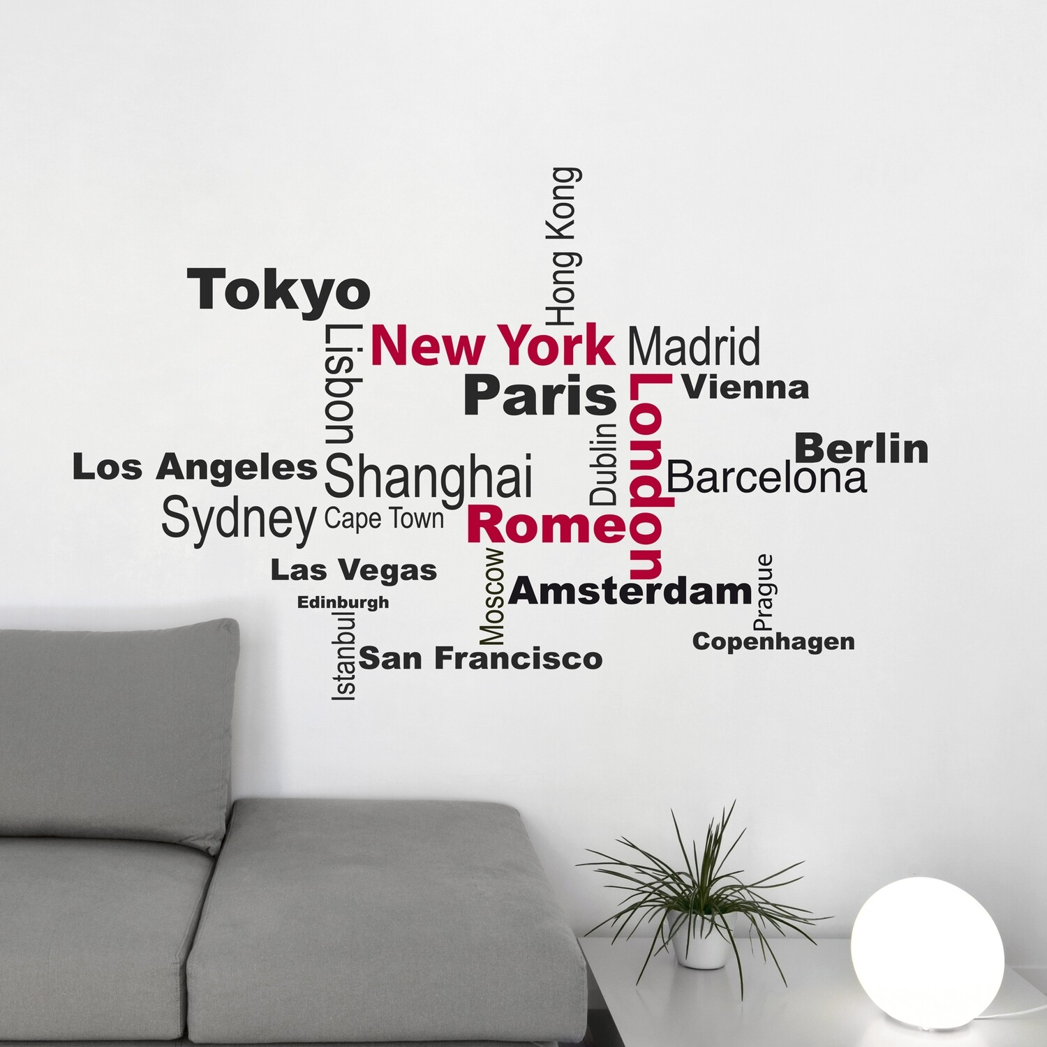 Cities Self Adhesive Wall Quote