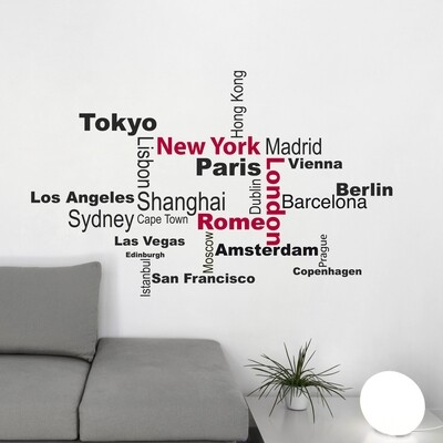 Crearreda 82002 - Cities Self Adhesive Wall Quote
