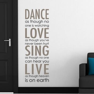 Crearreda 82003 - Dance Love Sing Live Self Adhesive Wall Quote