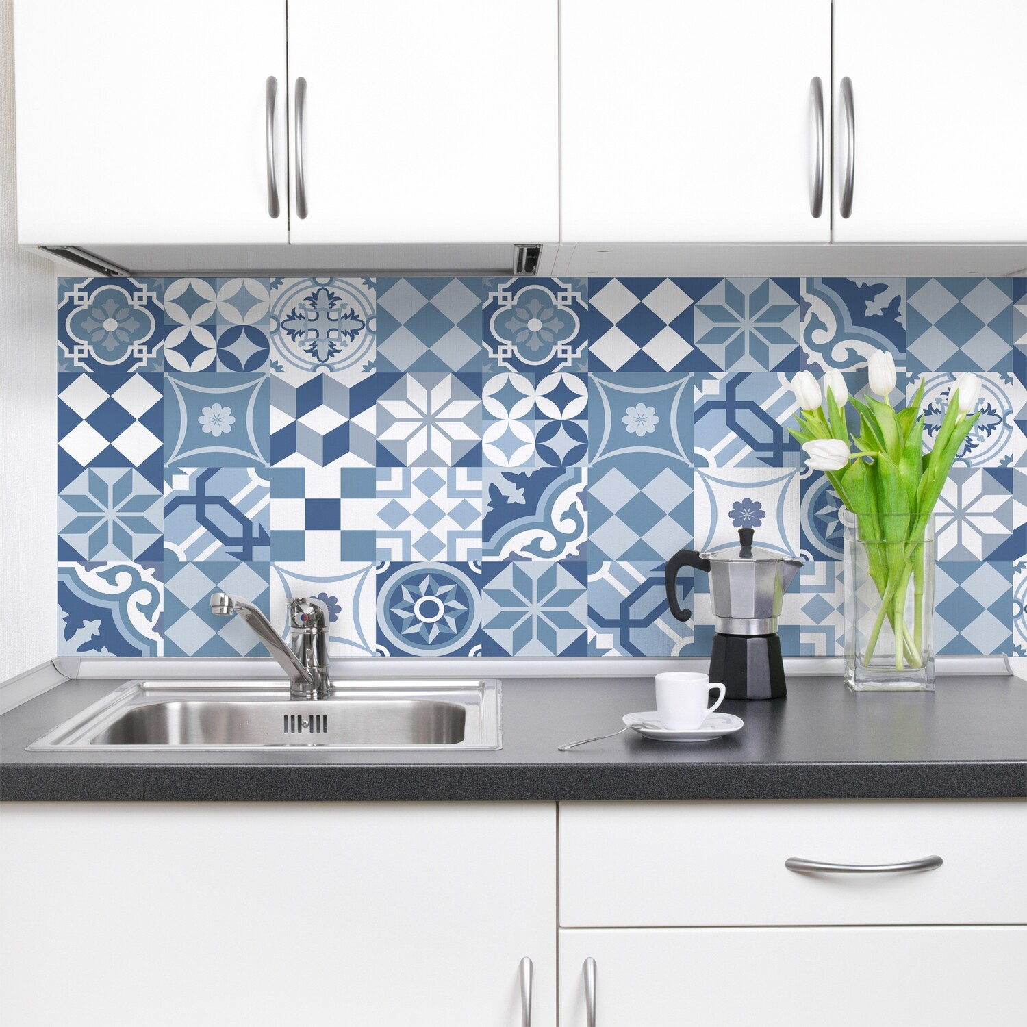 Crearreda 67311- Blue Cementine Self Adhesive Backsplash