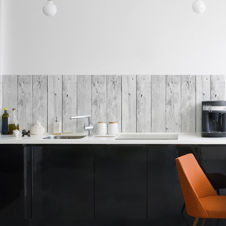 Crearreda 67314 - White Wood Self Adhesive Backsplash