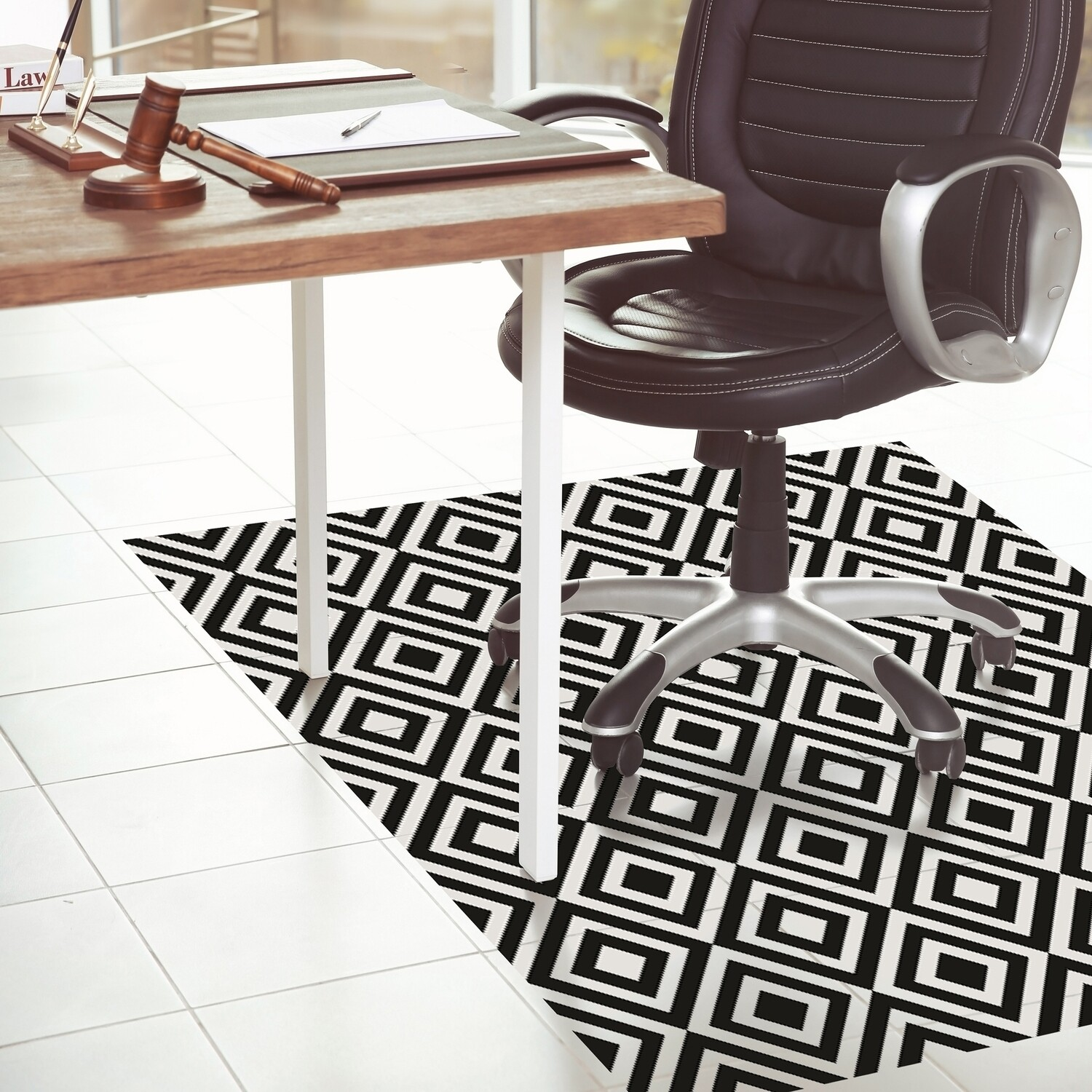 Black & White Self Adhesive Vinyl rug