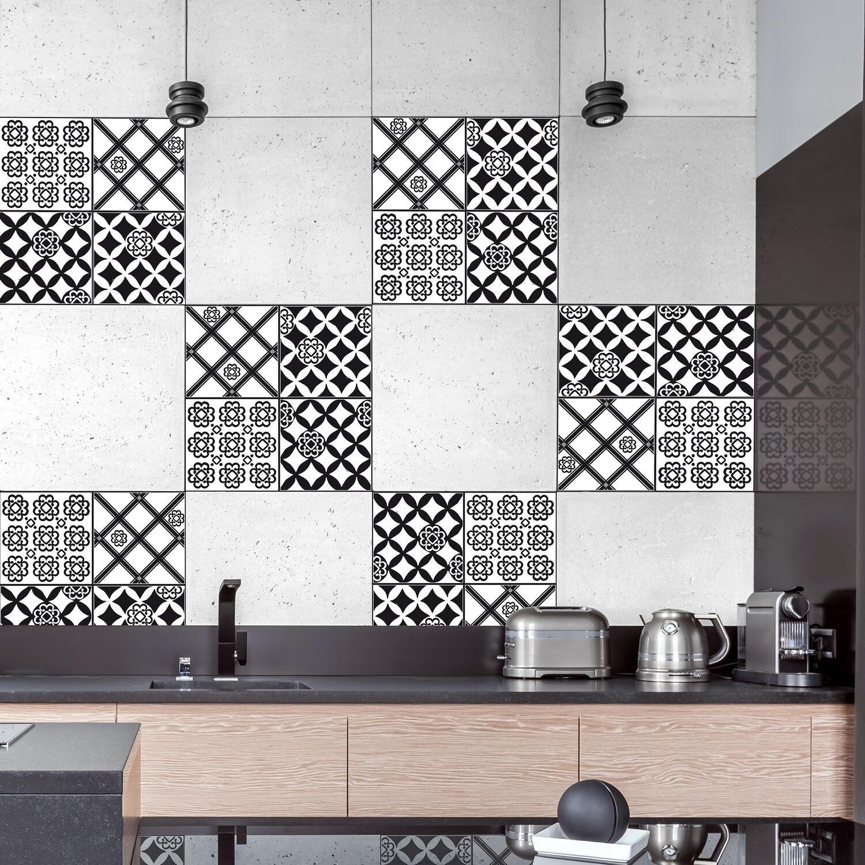 Black & White Azulejos Self Adhesive Tile Cover