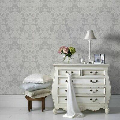 Venetian Damask Grey Wallpaper