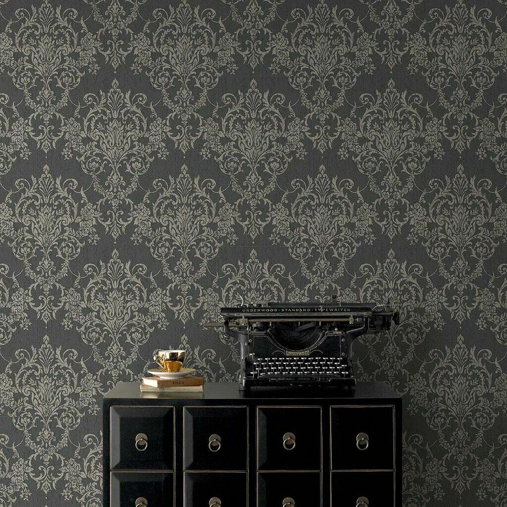 Victorian Damask Black & Gold Wallpaper