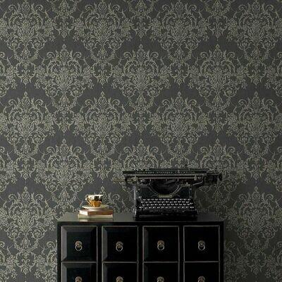 Victorian Damask Black & Gold Wallpaper