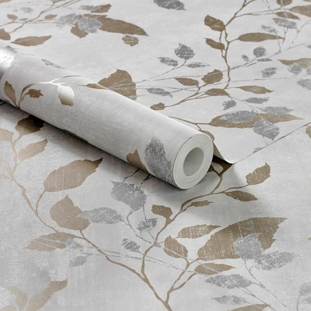 Vermeil Leaf Grey Wallpaper