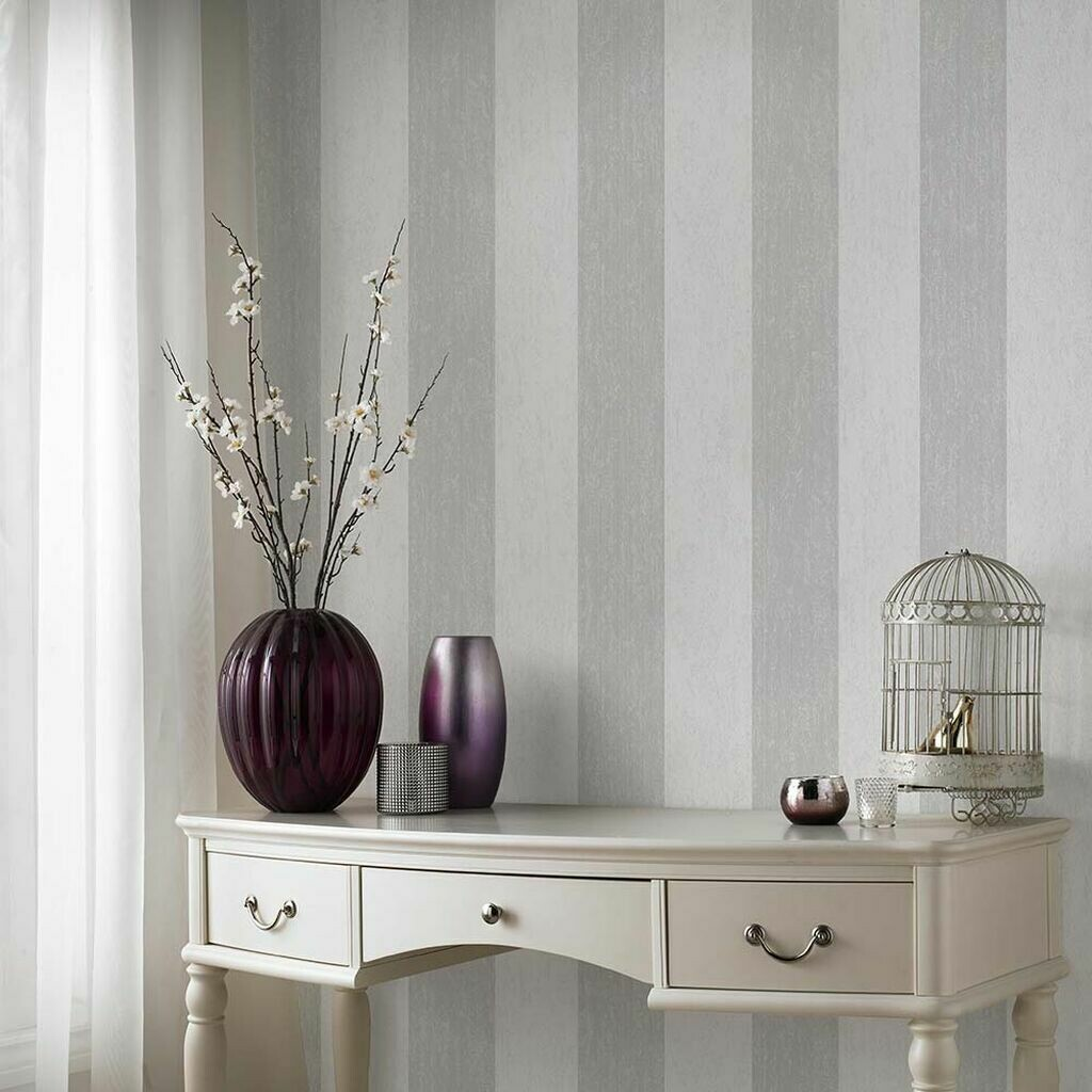 Mercury Stripe Silver Wallpaper