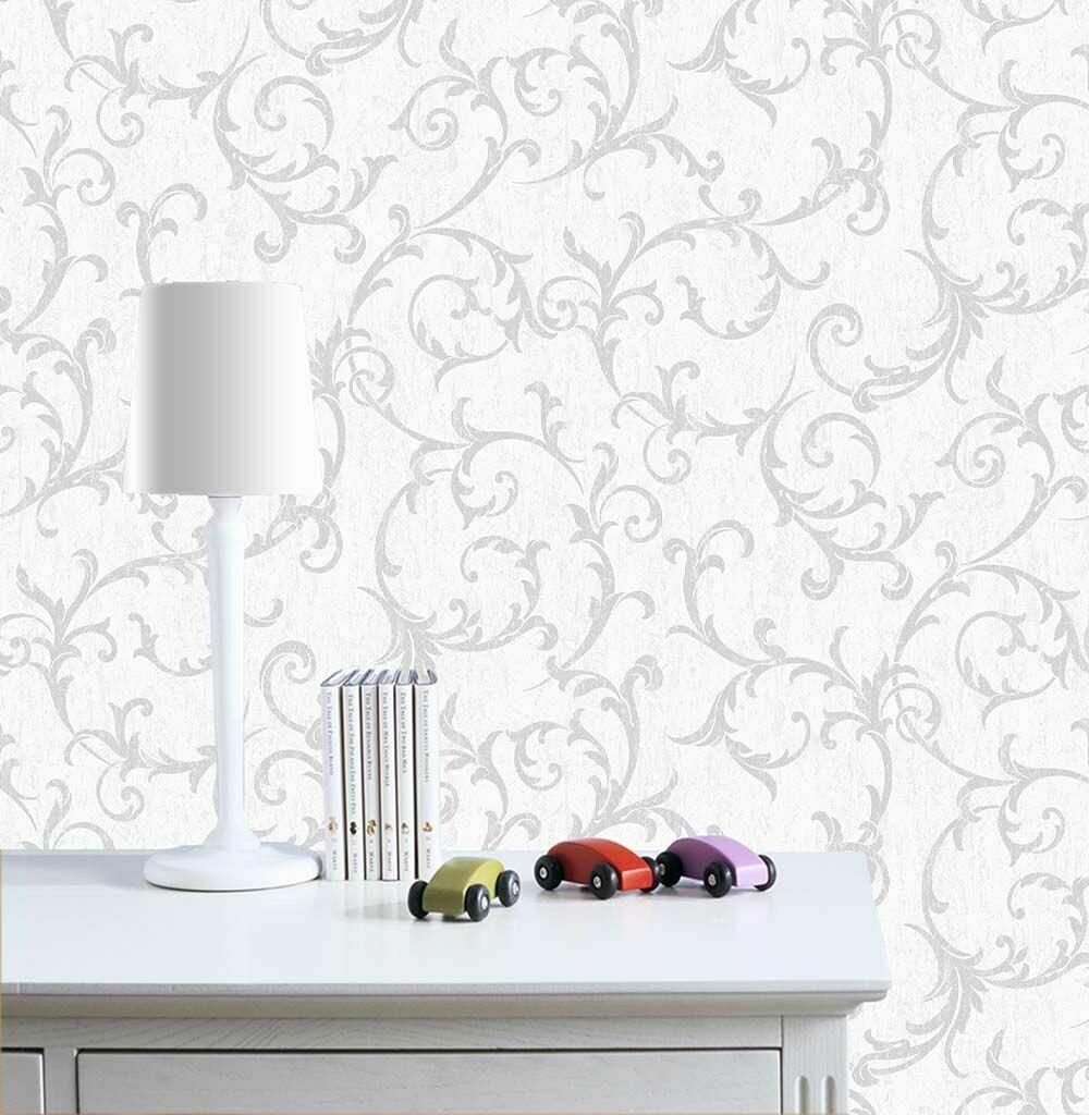 Empress Scroll Silver Wallpaper