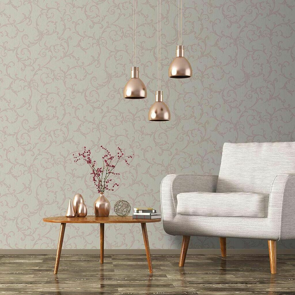 Empress Scroll Rose Gold Wallpaper