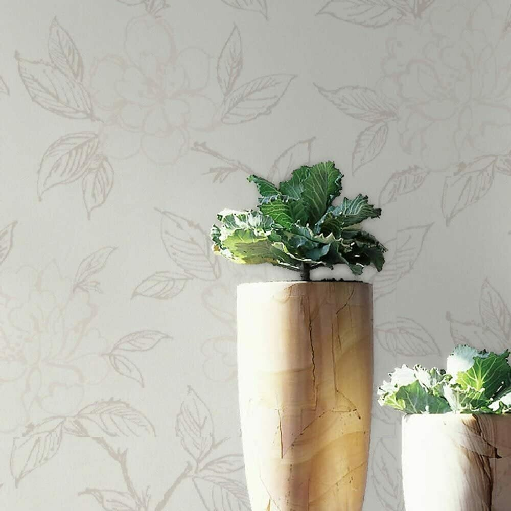 Cherry Bloom White Wallpaper