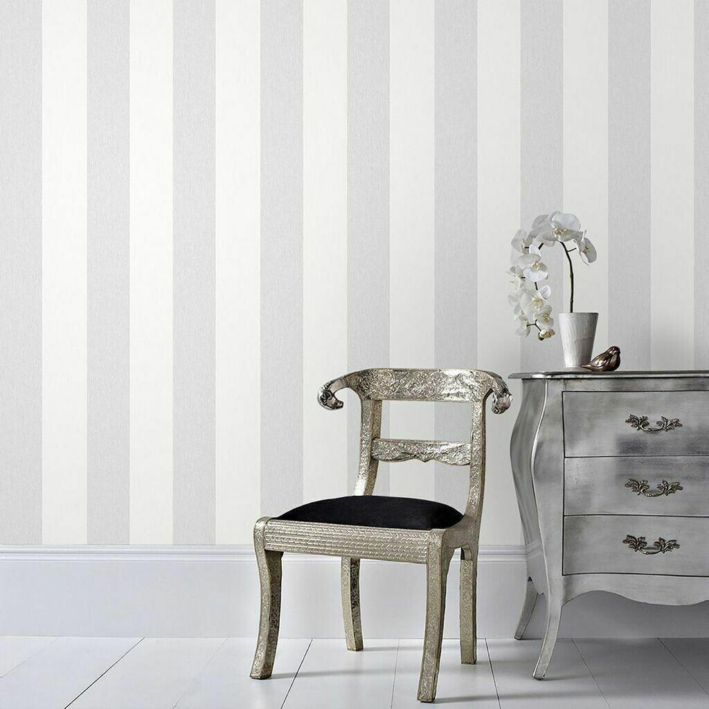 Calico Stripe Grey Wallpaper