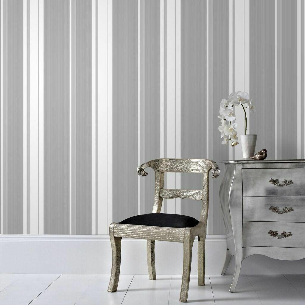 Gradient Stripe Silver Wallpaper