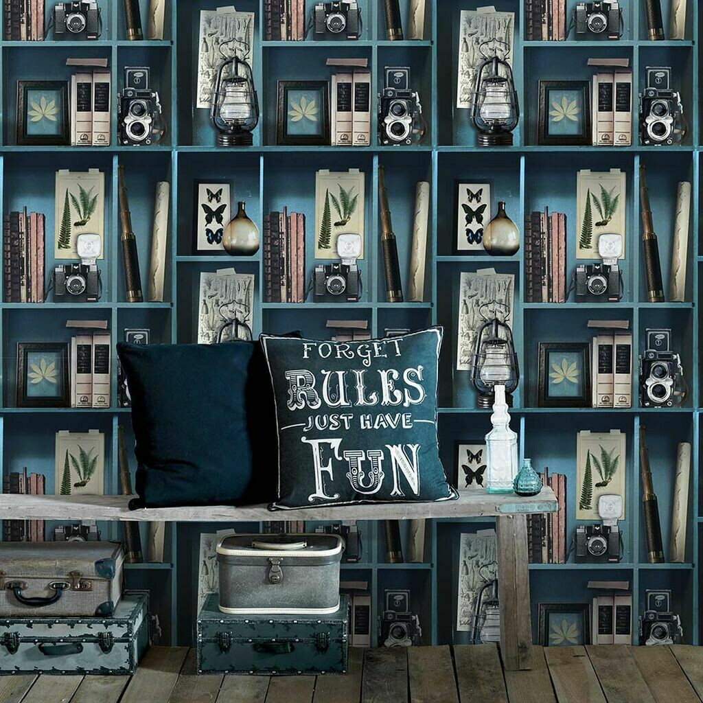 Curiosite Biblio Blue Wallpaper