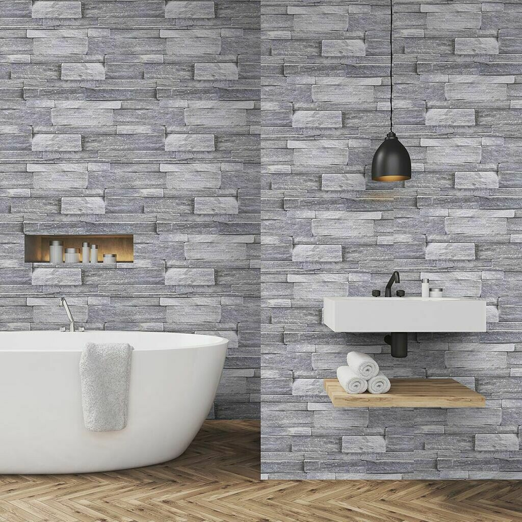 Stone Wall Grey Wallpaper
