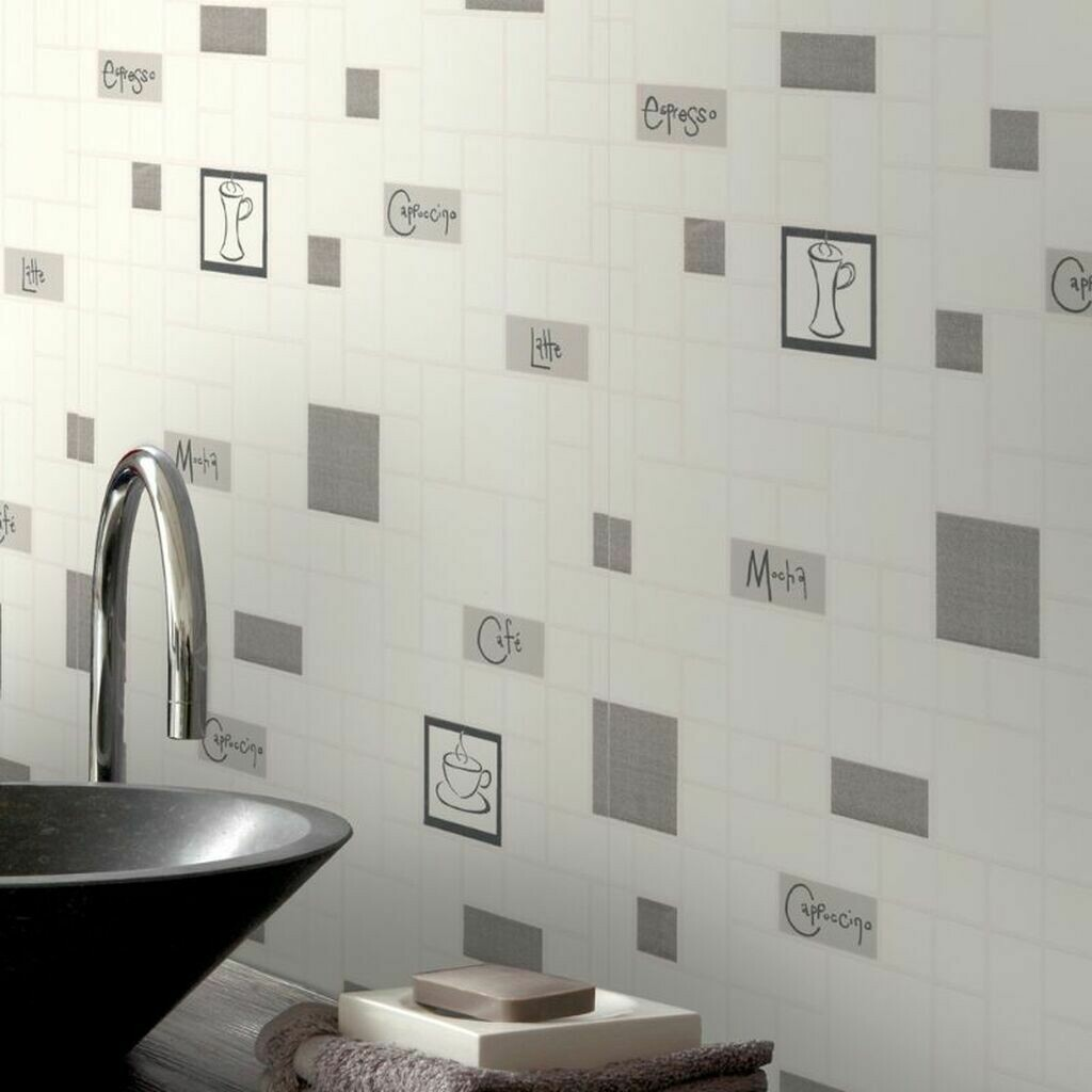 Contour Cafe Culture Grey Wallpaper