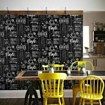 Coffee Shop Black & White Wallpaper