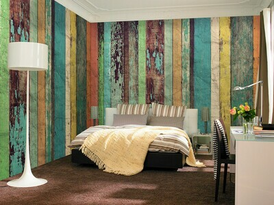 Colored Wooden Wall Wall Mural
