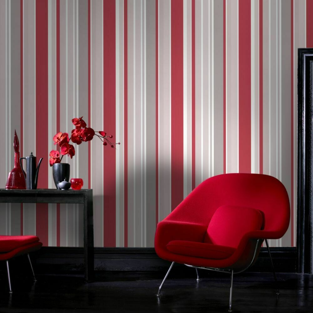 Rico Stripe Red Wallpaper