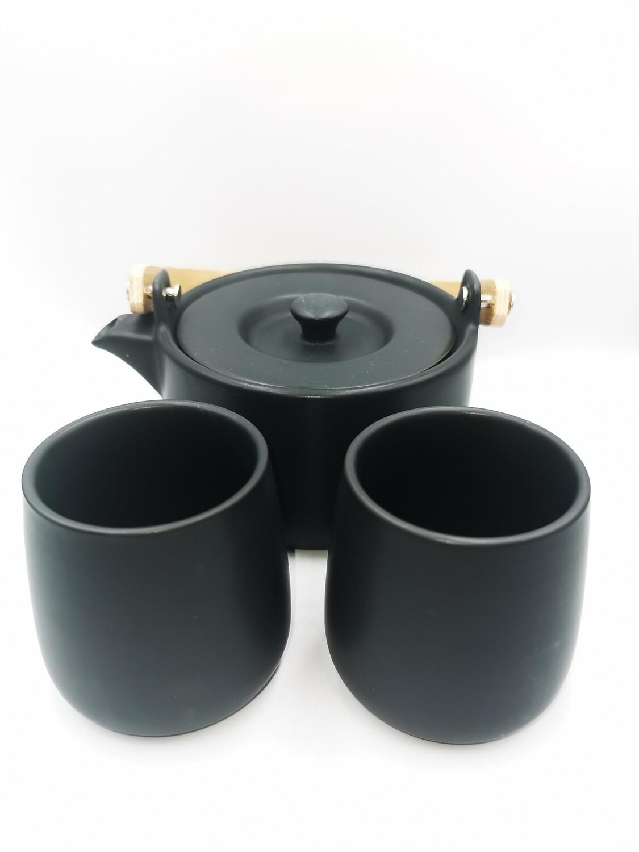 Zwarte theepot + 2 mokken
