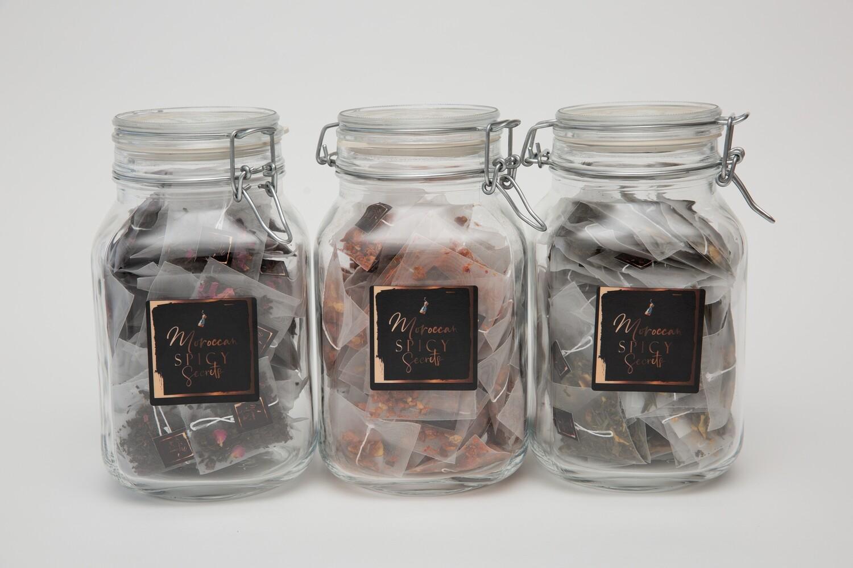 Glazen voorraadpot met 50 of 100 theebuiltjes