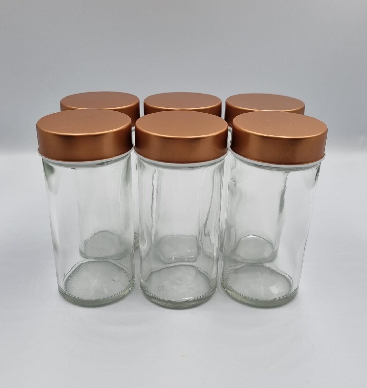 6 lege, glazen kruidenpotjes met strooideksel