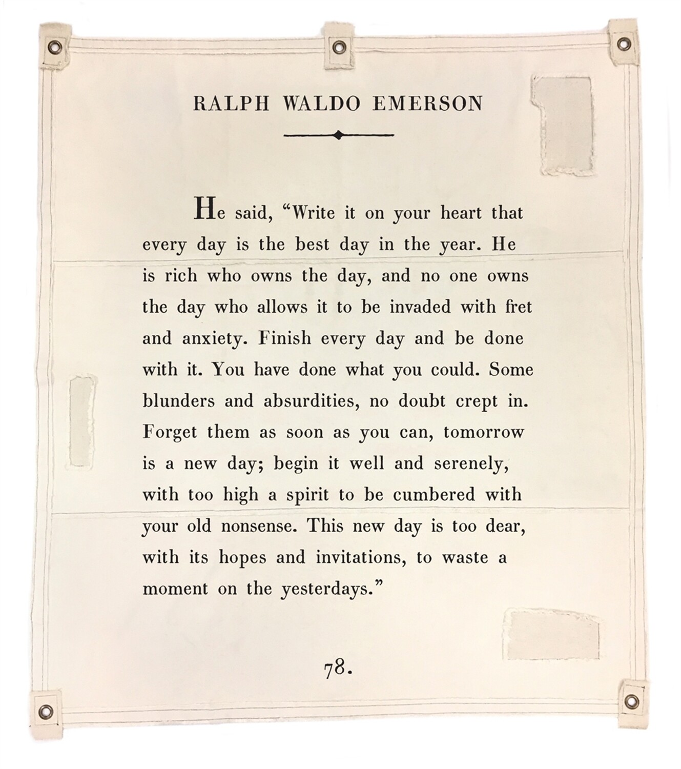 BOOK PAGE TAPESTRY TARP ART - Ralph Waldo Emerson