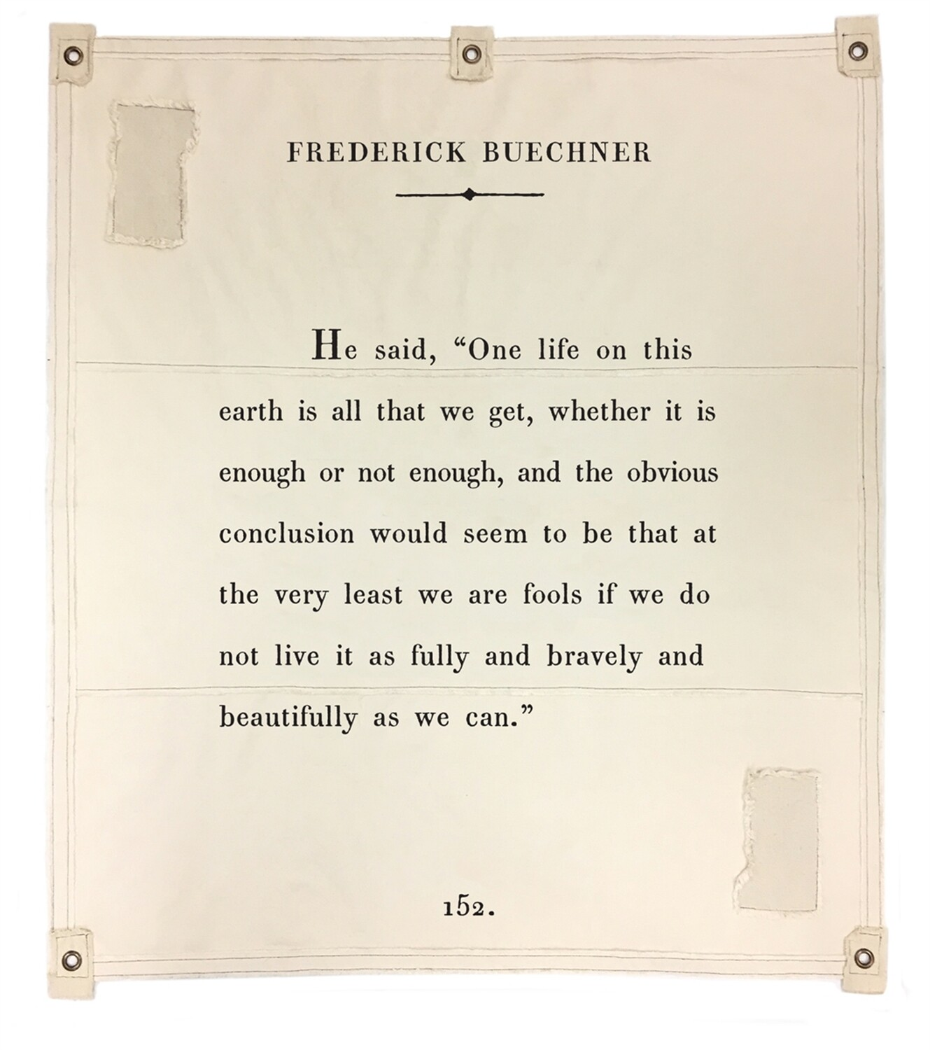 BOOK PAGE TAPESTRY TARP ART - Frederick Buechner