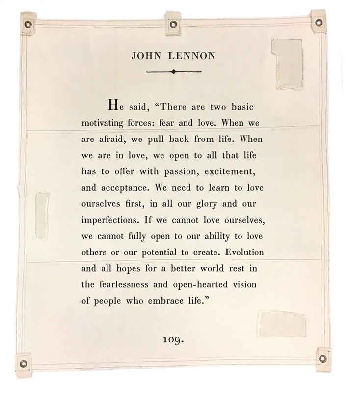 BOOK PAGE TAPESTRY TARP ART - John Lennon