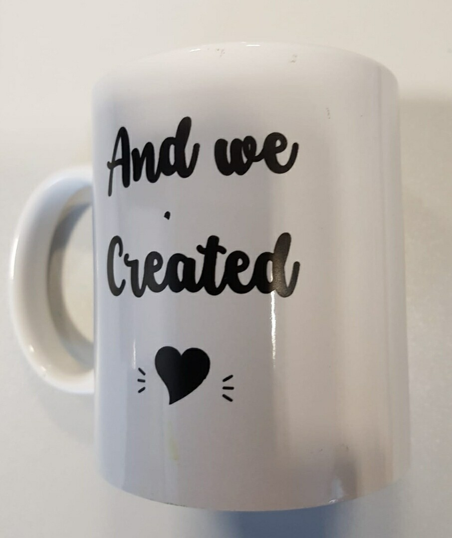Grote koffiemok 'And we Created'