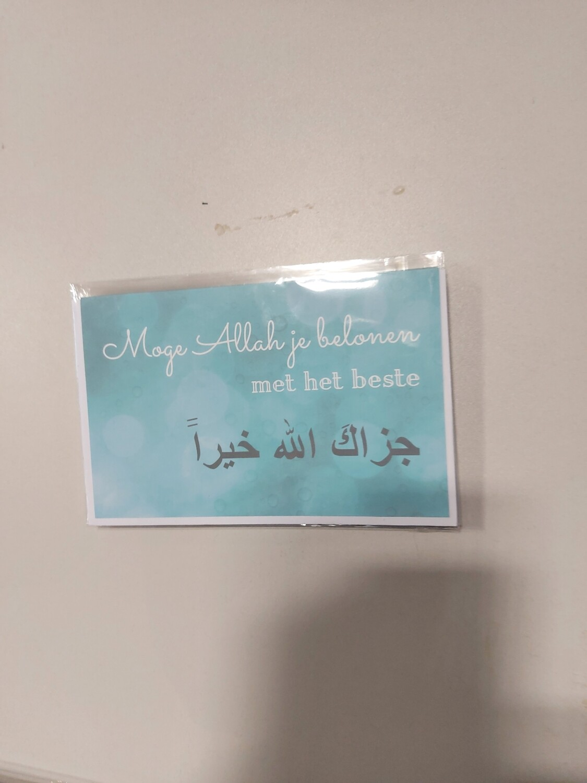 Grote dubbele kaart: Moge Allah je belonen met het beste ( in folie met omslag )