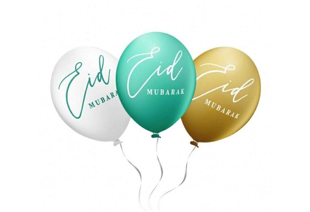 Eid Mubarak ballonnen groen, wit en goud