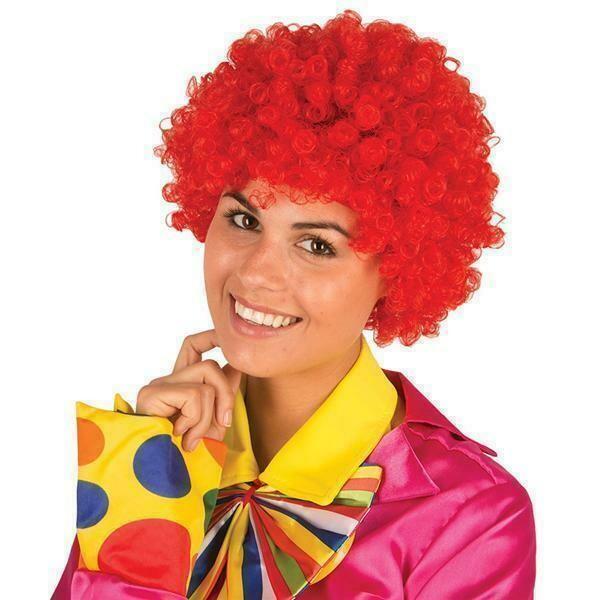 Pruik krul rood Clown