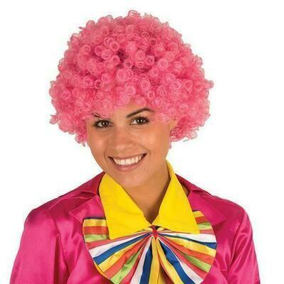 Pruik krul roze clown